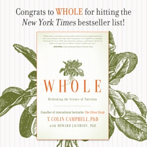I am thrilled that Dr. Campbell endorsed our book on page 167 and that our mutual publisher, BenBella, placed a full page ad for Healthy Eating, Healthy World in one of the last few pages of the book.