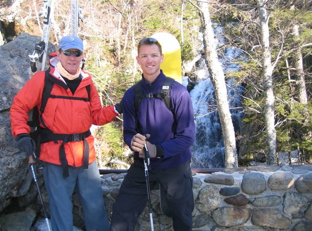 "The creators of the ""4-Leaf Program,"" authors J. Morris Hicks and J. Stanfield Hicks hiking to Tuckerman Ravine in New Hampshire"