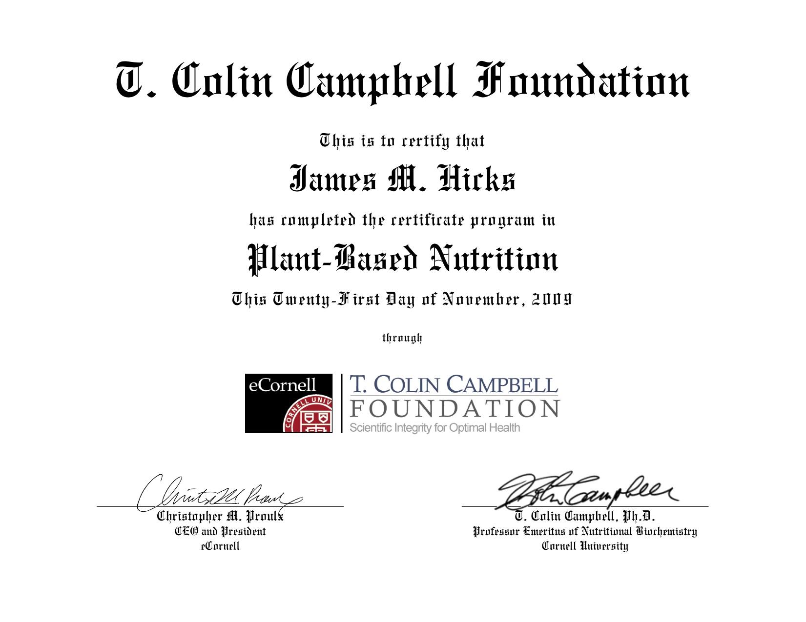 Cornell Certificate in Plant Based Nutrition | J. Morris Hicks ...