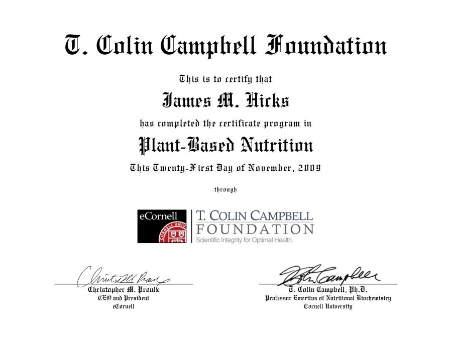 My Certificate in Plant Based Nutrition -- Nov. 2009