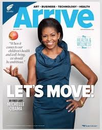 "Michelle tossing an apple on the cover of the ""Arrive"" magazine on Amtrak this month"