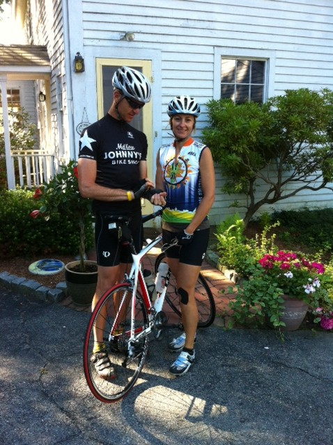 Here's Jason and Lisa heading out for a 50-mile bike ride.