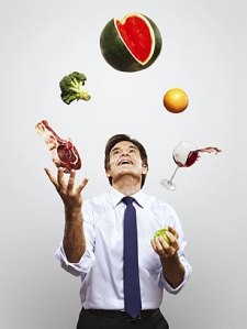 Dr. Oz juggles his food, which of course includes the all-important