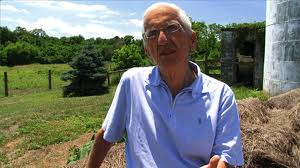 "Dr. Campbell as he appeared in the movie, ""Forks over Knives,"" on the farm where he was raised."