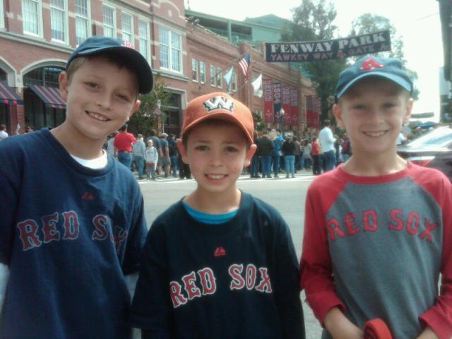 My three grandsons at Boston's famous Fenway Park -- Collin (10) Cooper (8) and Andrew (9). It was Cooper's very first trip to this legendary ballpark.