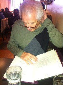 A candid shot of Sal Liggieri, as he ponders the extensive and exceptionally healthy menu at the Candle Cafe