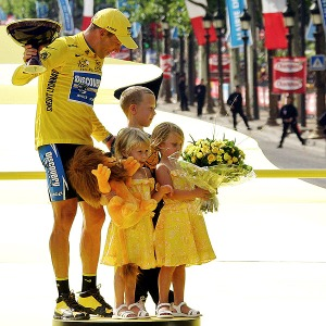 In Paris with his three oldest children: Luke (now 13) and twin girls Grace and Isabelle
