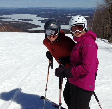 "Jason and Lisa Hicks high above beautiful Sunapee Lake in New Hampshire. They even look a little bit like ""Peeps."""