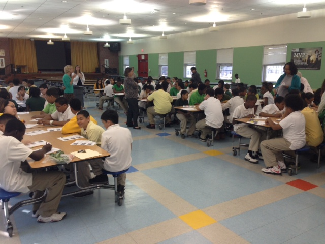 100 of the 6th graders at Bennie Dover Jackson enjoying their fruit & veggie smoothies.