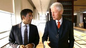 "Dr. Sanjay Gupta with President Clinton---scene from ""The Last Heart Attack."""