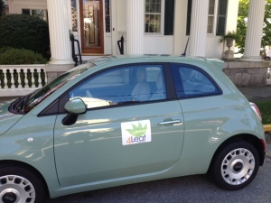 "My ""green"" 4Leaf Fiat with cloth seats."