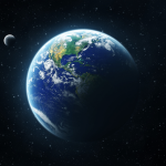 Planet Earth with moon
