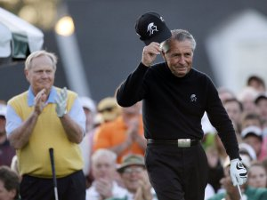 Earlier this year, Gary Player being applauded by Jack Nicklaus