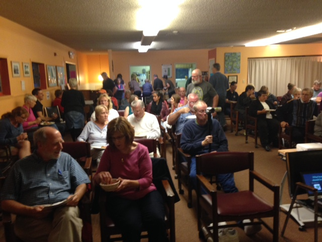 At the Unitarian Church in Canandaigua, an enthusiastic Friday night crowd packed the house by the time my presentation began.