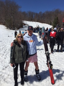 April 12, 2015, after surviving my first and LAST pond-skimming experience of my life. Wachusett Mountain, MA.