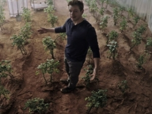 Here is Watney in his potato patch on Mars.