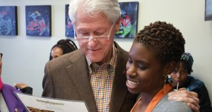 Bill Clinton perusing the vegan menu at the Simply Pure restaurant in Las Vegas