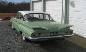 This is the model and color of my 60 Chevy in 1966.