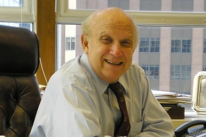 Floyd Abrams at his desk in New York where we met with him in July of 2014
